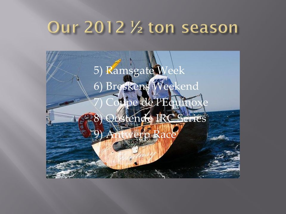 Our 2012 ½ ton season 5) Ramsgate Week 6) Breskens Weekend