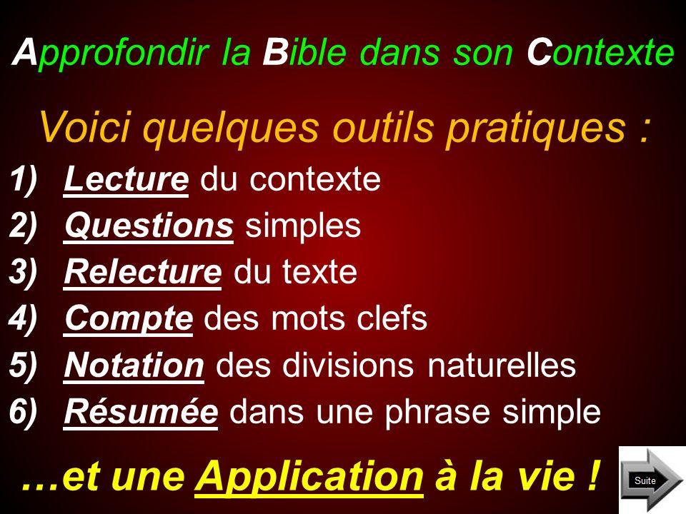 Approfondir la Bible dans son Contexte