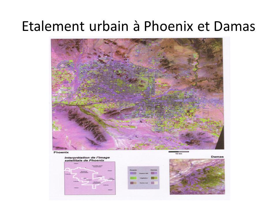 Etalement urbain à Phoenix et Damas