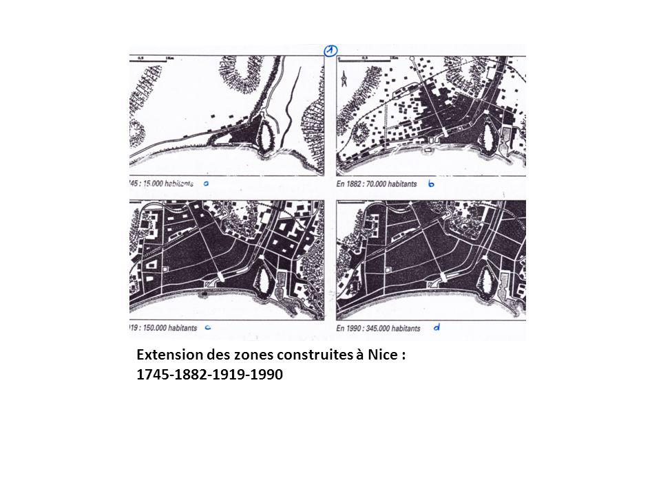 Extension des zones construites à Nice : 1745-1882-1919-1990