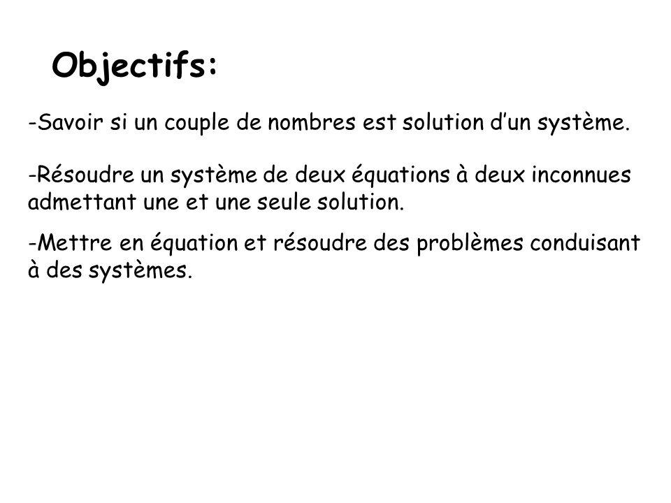 Objectifs: Savoir si un couple de nombres est solution d'un système.