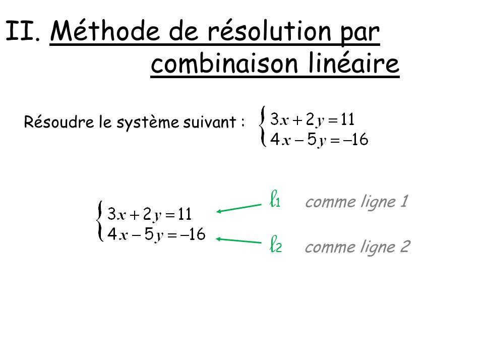 l1 l2 II. Méthode de résolution par combinaison linéaire