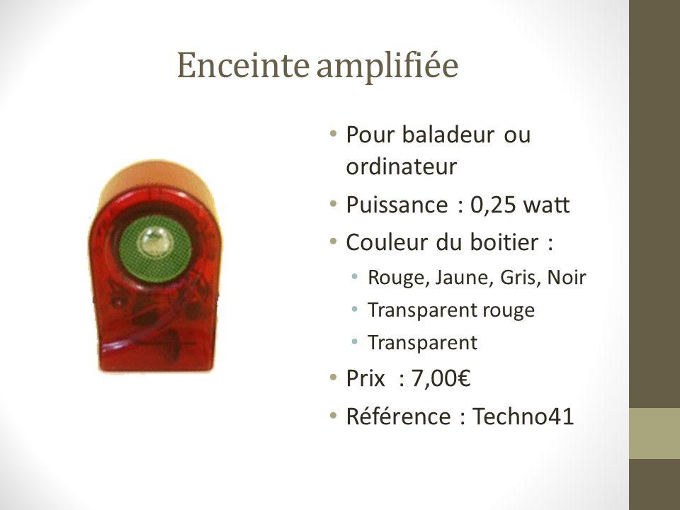 Enceinte amplifiée Pour baladeur ou ordinateur Puissance : 0,25 watt