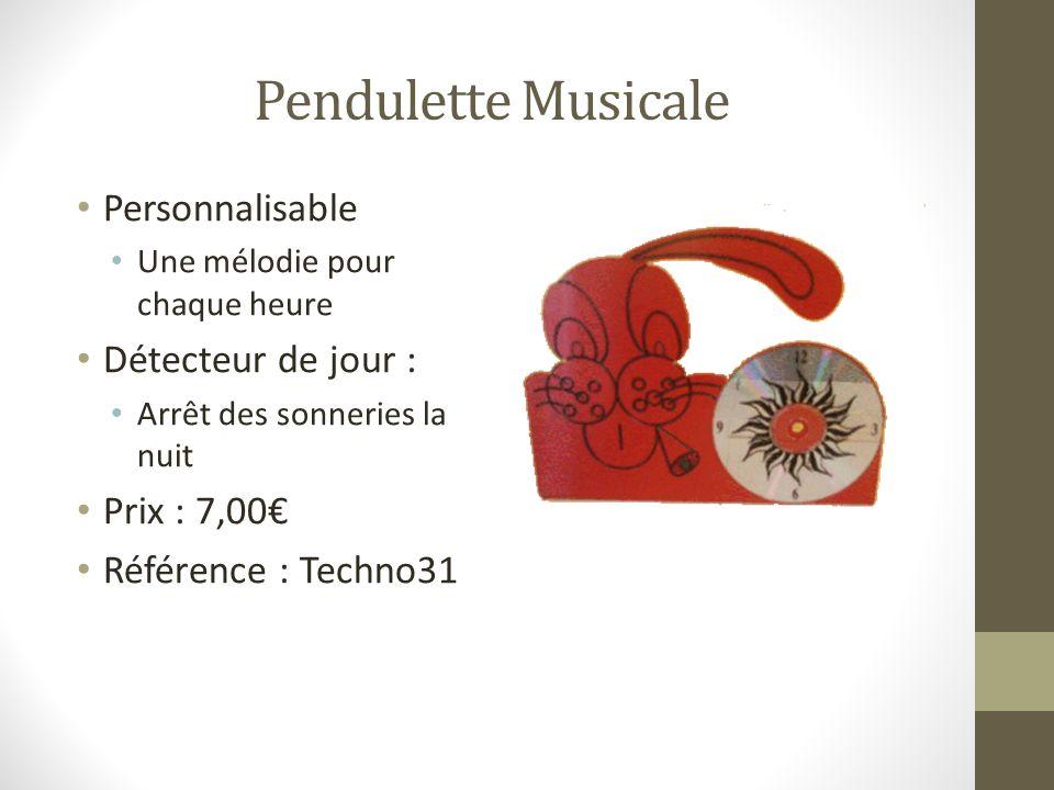 Pendulette Musicale Personnalisable Détecteur de jour : Prix : 7,00€