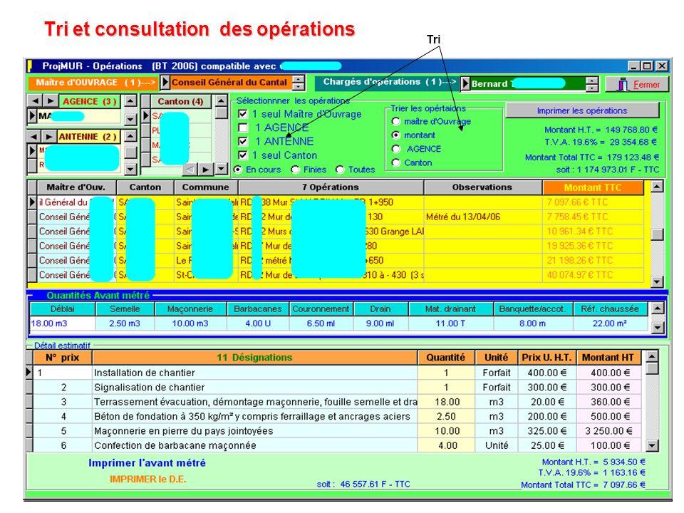 Tri et consultation des opérations