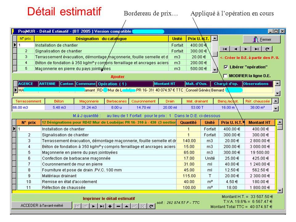 Détail estimatif Bordereau de prix… Appliqué à l'opération en cours