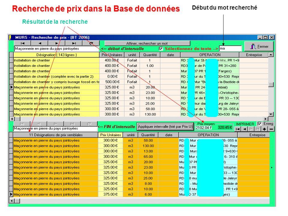 Recherche de prix dans la Base de données