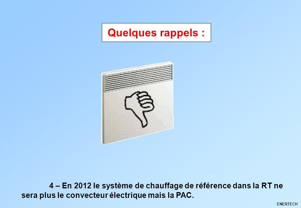 Quelques rappels : 4 – En 2012 le système de chauffage de référence dans la RT ne sera plus le convecteur électrique mais la PAC.
