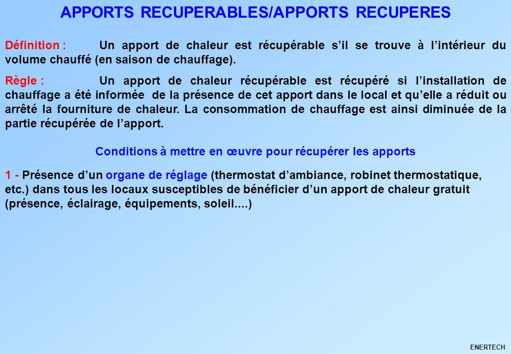 APPORTS RECUPERABLES/APPORTS RECUPERES