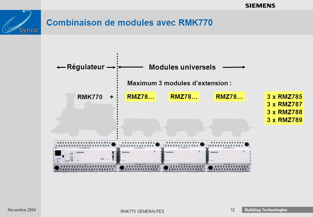 Combinaison de modules avec RMK770