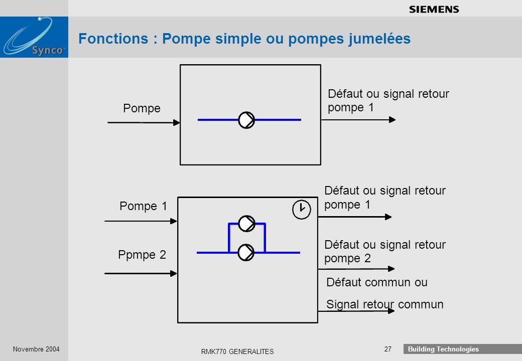 Fonctions : Pompe simple ou pompes jumelées