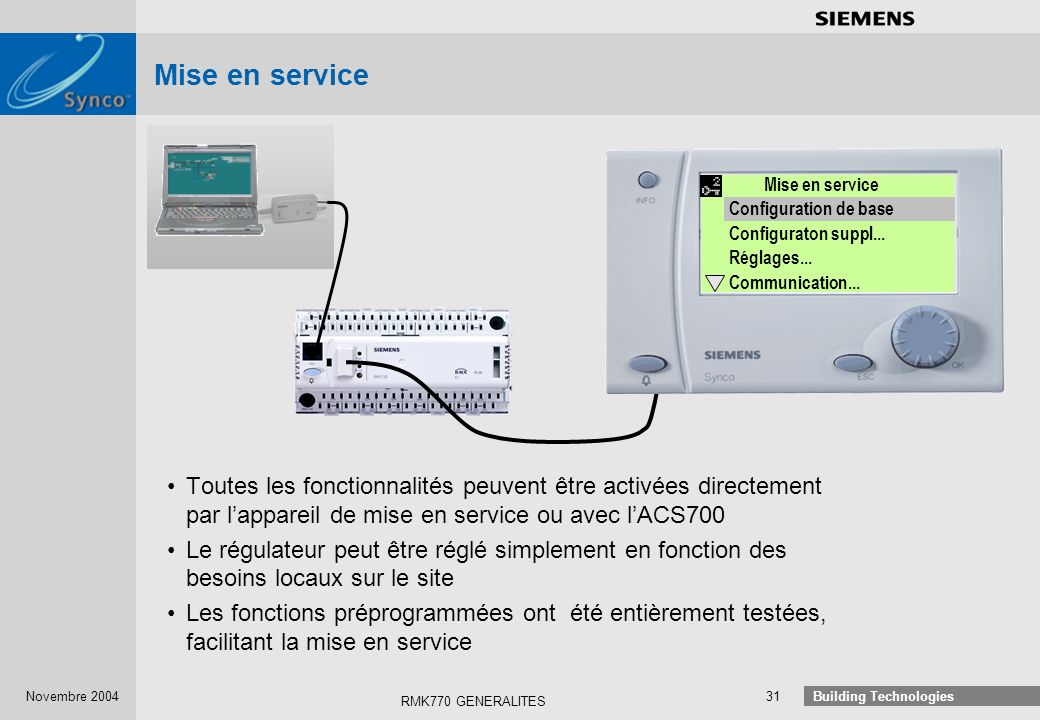 Mise en service Mise en service. Configuration de base. Configuraton suppl... Réglages... Communication...