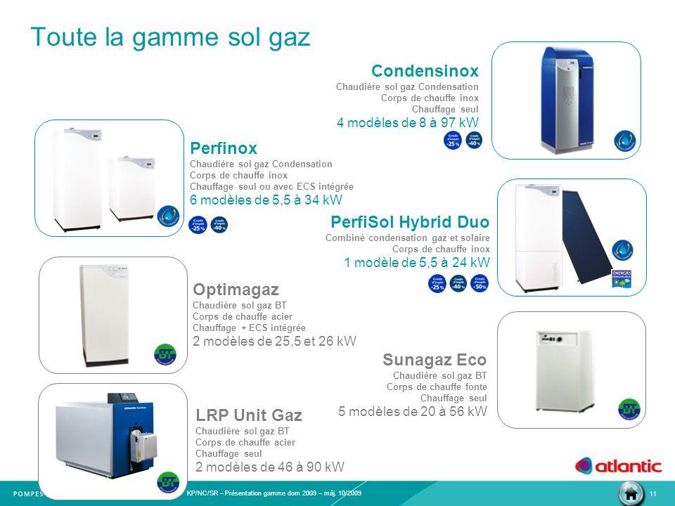 Toute la gamme sol gaz Condensinox Perfinox PerfiSol Hybrid Duo