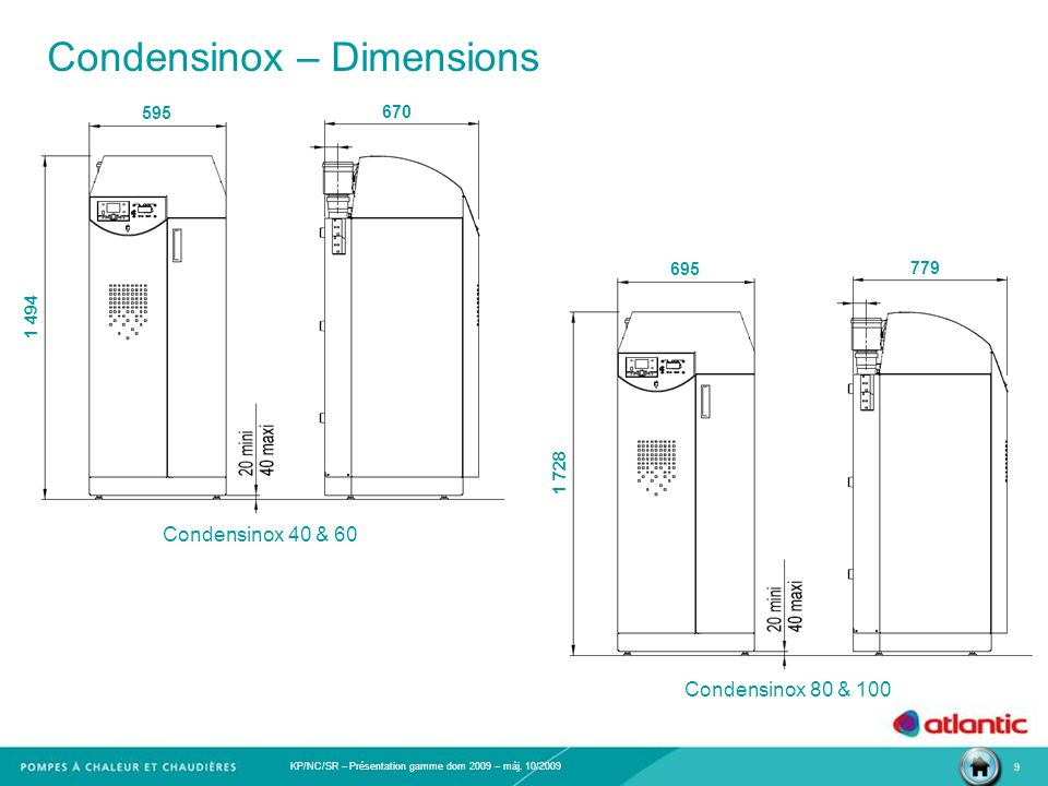 Condensinox – Dimensions