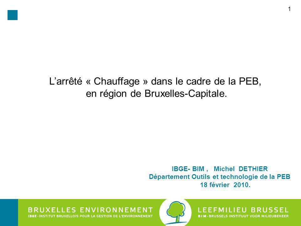 IBGE- BIM , Michel DETHIER Département Outils et technologie de la PEB
