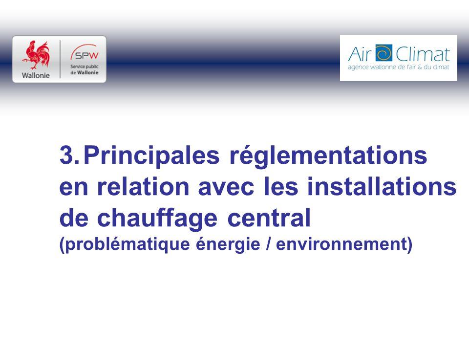 3. Principales réglementations en relation avec les installations de chauffage central (problématique énergie / environnement)