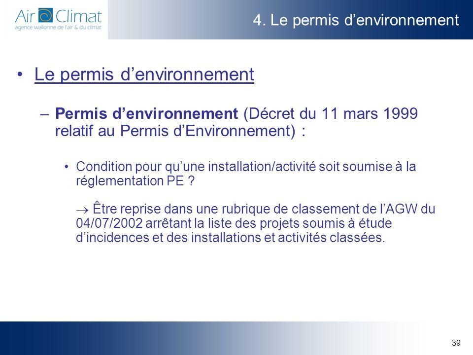 4. Le permis d'environnement