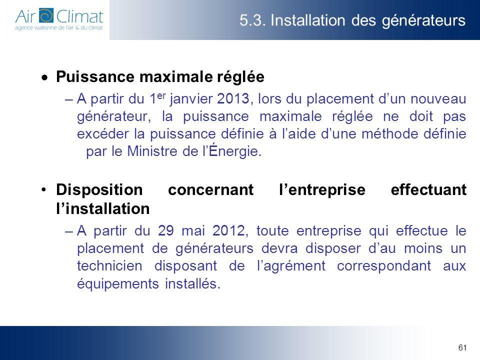 5.3. Installation des générateurs