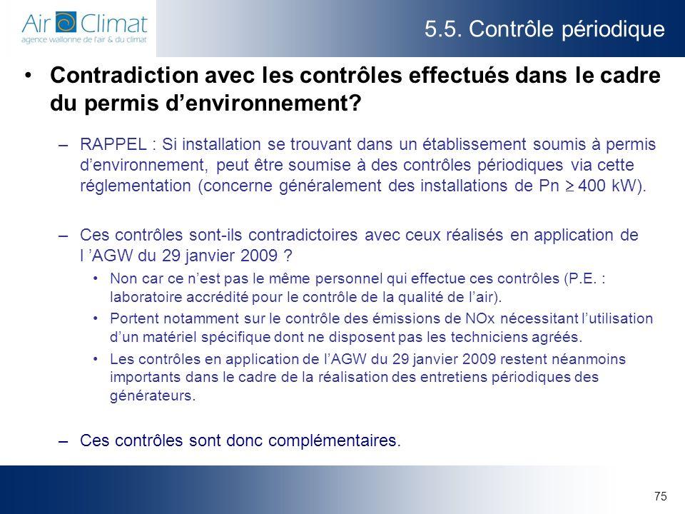 5.5. Contrôle périodique Contradiction avec les contrôles effectués dans le cadre du permis d'environnement