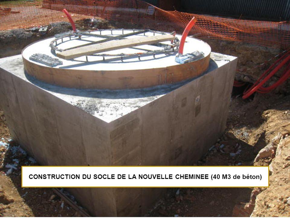 CONSTRUCTION DU SOCLE DE LA NOUVELLE CHEMINEE (40 M3 de béton)