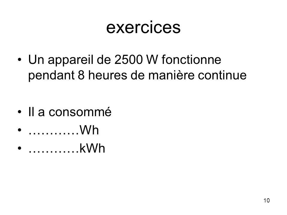exercices Un appareil de 2500 W fonctionne pendant 8 heures de manière continue. Il a consommé. …………Wh.