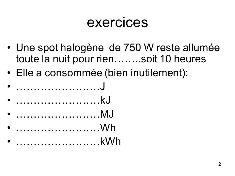 exercices Une spot halogène de 750 W reste allumée toute la nuit pour rien……..soit 10 heures. Elle a consommée (bien inutilement):