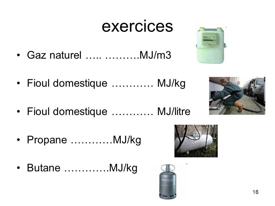 exercices Gaz naturel ….. ……….MJ/m3 Fioul domestique ………… MJ/kg