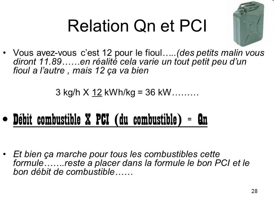 Débit combustible X PCI (du combustible) = Qn