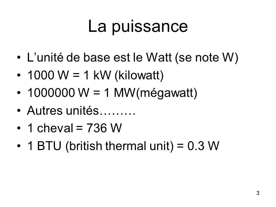 La puissance L'unité de base est le Watt (se note W)