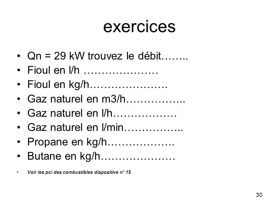 exercices Qn = 29 kW trouvez le débit…….. Fioul en l/h …………………