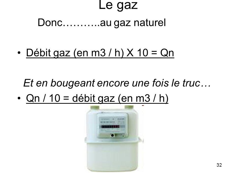 Le gaz Donc………..au gaz naturel Débit gaz (en m3 / h) X 10 = Qn