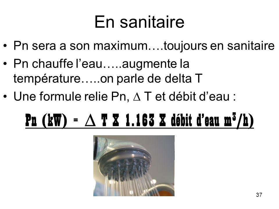 Pn (kW) =  T X 1.163 X débit d'eau m3/h)