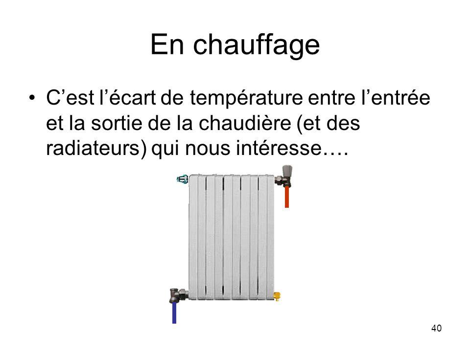 En chauffage C'est l'écart de température entre l'entrée et la sortie de la chaudière (et des radiateurs) qui nous intéresse….