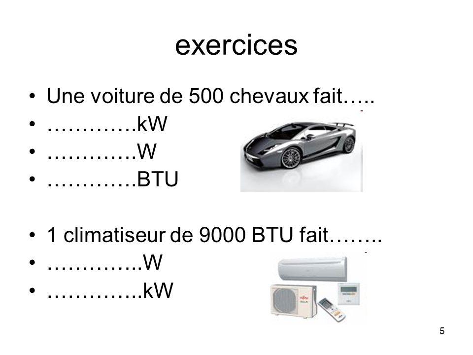exercices Une voiture de 500 chevaux fait….. ………….kW ………….W ………….BTU