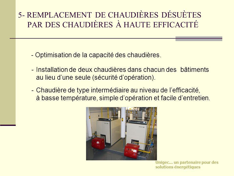 5- REMPLACEMENT DE CHAUDIÈRES DÉSUÈTES PAR DES CHAUDIÈRES À HAUTE EFFICACITÉ