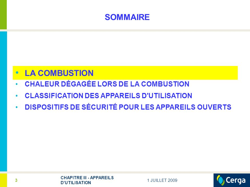 SOMMAIRE LA COMBUSTION CHALEUR DÉGAGÉE LORS DE LA COMBUSTION