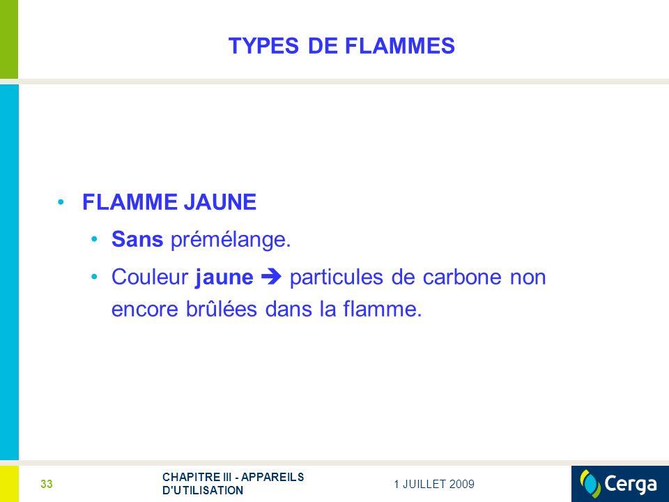 TYPES DE FLAMMES FLAMME JAUNE Sans prémélange.