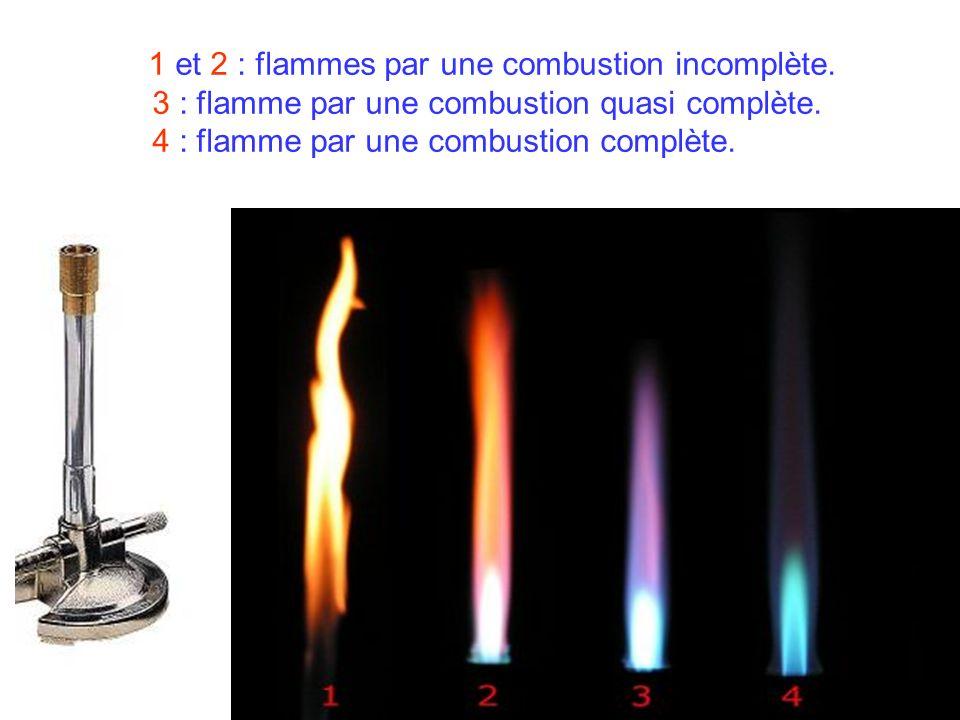 1 et 2 : flammes par une combustion incomplète