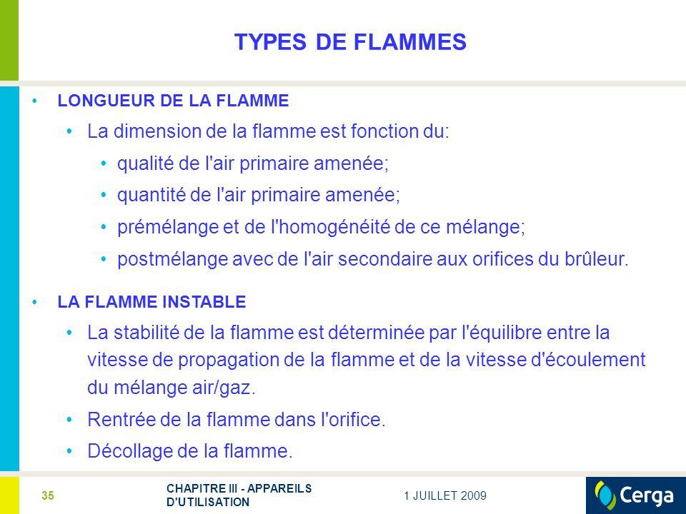 TYPES DE FLAMMES La dimension de la flamme est fonction du: