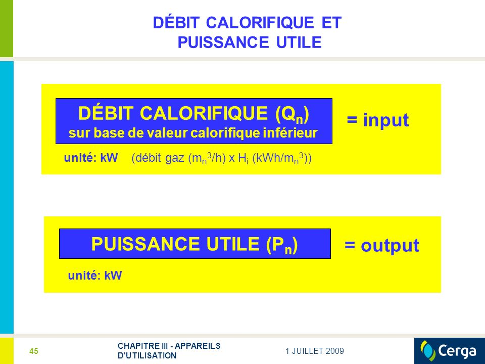 DÉBIT CALORIFIQUE (Qn) sur base de valeur calorifique inférieur
