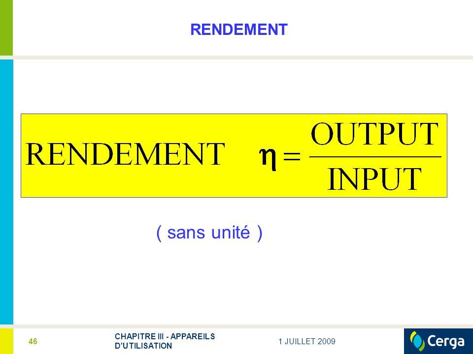 ( sans unité ) RENDEMENT CHAPITRE III - APPAREILS D UTILISATION