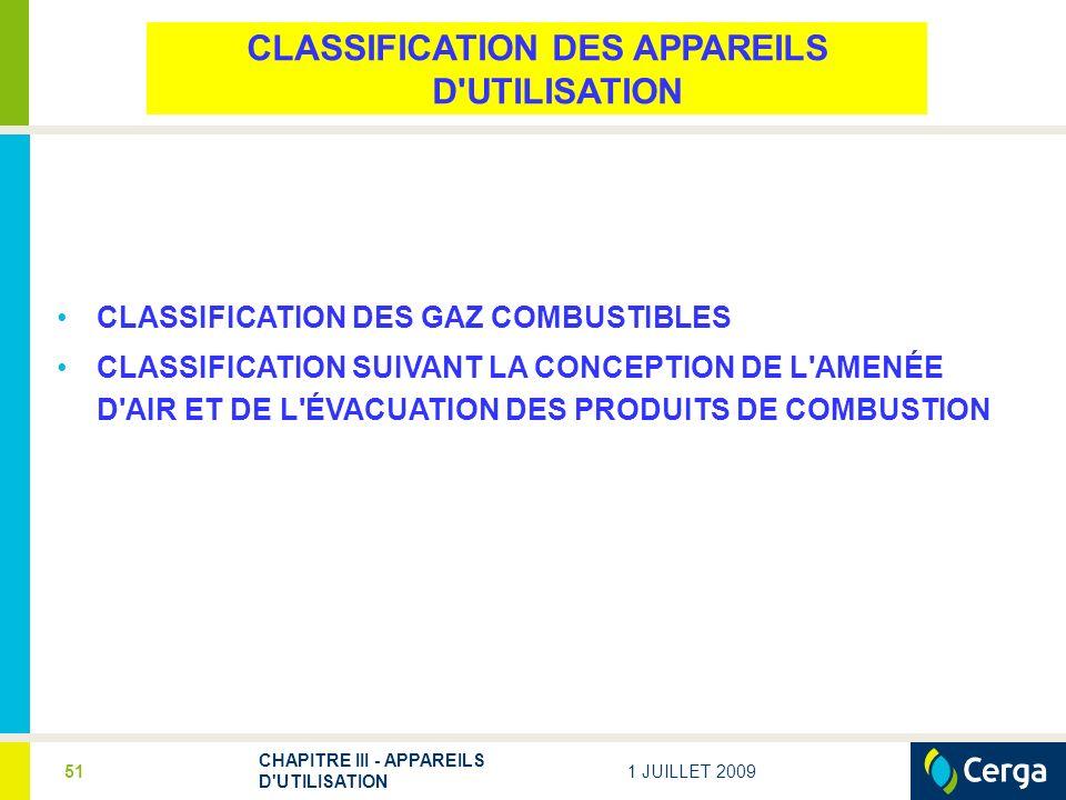 CLASSIFICATION DES APPAREILS D UTILISATION