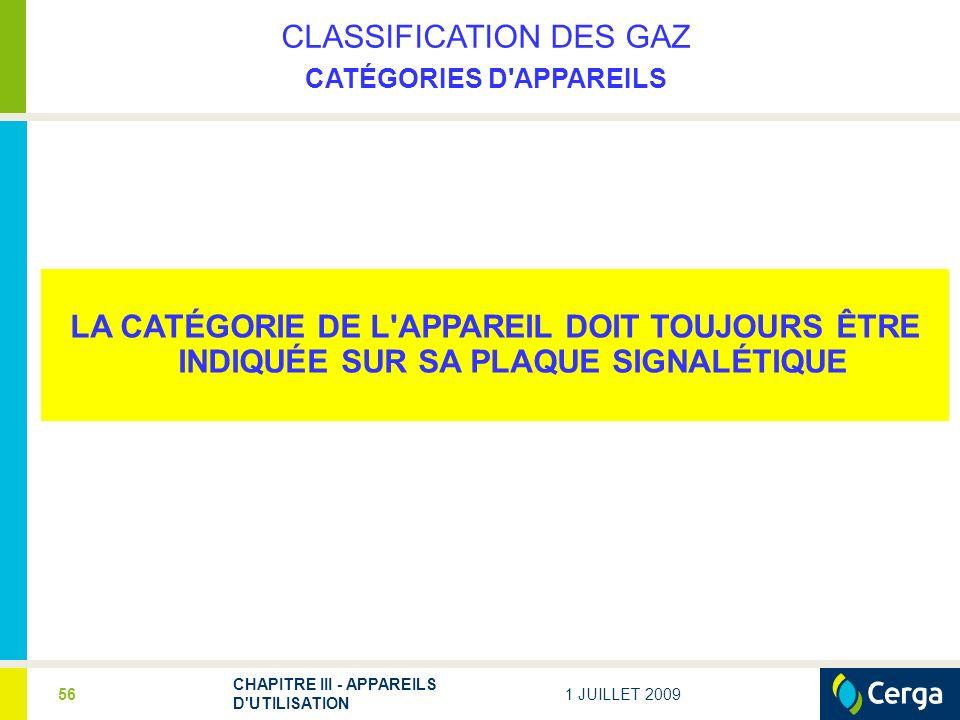 CLASSIFICATION DES GAZ CATÉGORIES D APPAREILS