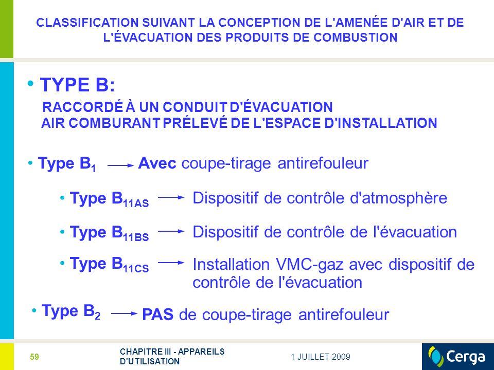 CLASSIFICATION SUIVANT LA CONCEPTION DE L AMENÉE D AIR ET DE L ÉVACUATION DES PRODUITS DE COMBUSTION