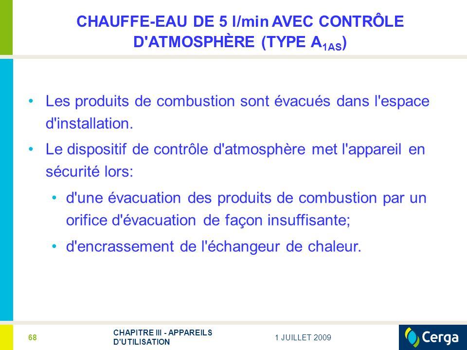 CHAUFFE-EAU DE 5 l/min AVEC CONTRÔLE D ATMOSPHÈRE (TYPE A1AS)