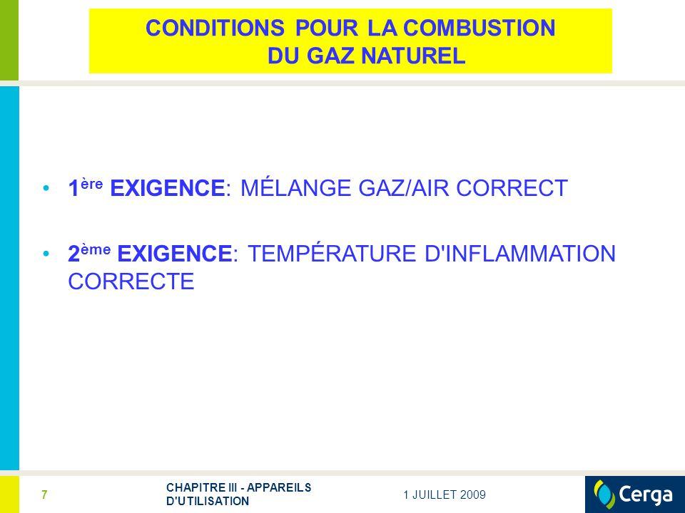 CONDITIONS POUR LA COMBUSTION DU GAZ NATUREL