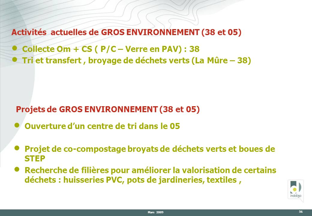 Activités actuelles de GROS ENVIRONNEMENT (38 et 05)