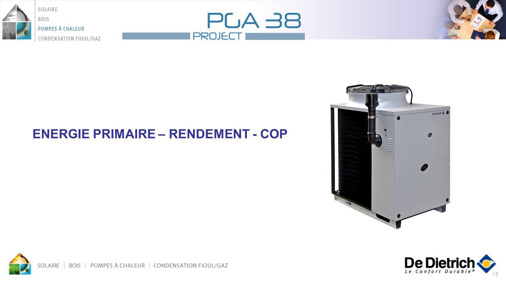 ENERGIE PRIMAIRE – RENDEMENT - COP