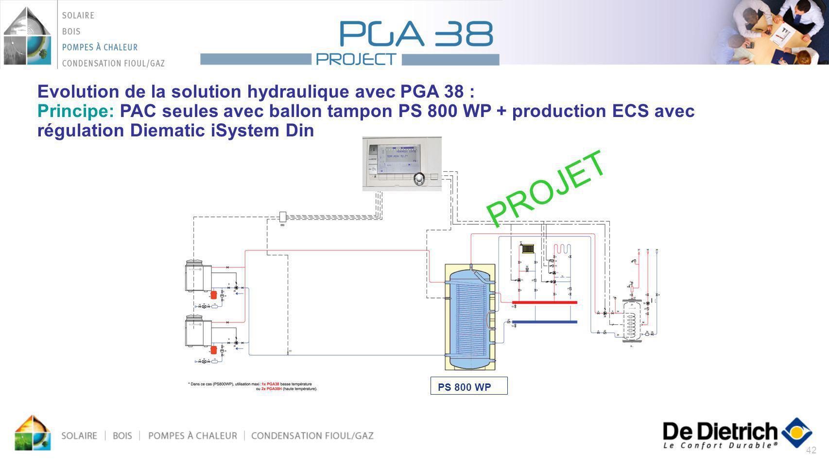 Evolution de la solution hydraulique avec PGA 38 : Principe: PAC seules avec ballon tampon PS 800 WP + production ECS avec régulation Diematic iSystem Din