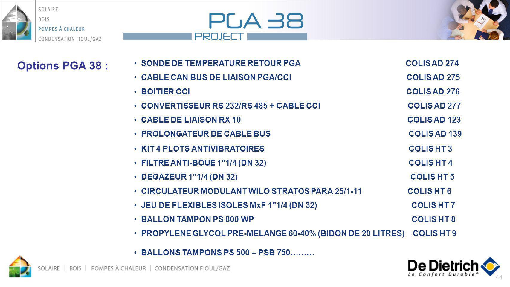 Options PGA 38 : SONDE DE TEMPERATURE RETOUR PGA COLIS AD 274